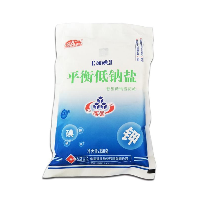 河北加碘平衡低钠盐海晶新型低纳雪花盐350g/袋买3送一 60袋/箱